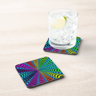 SPECTRUM Spiral, Visual Illusion, Rainbow / Teal Coaster