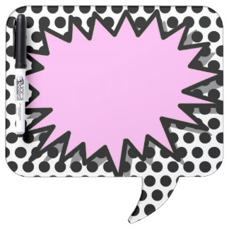 SPEECH BUBBLE ERASE BOARD, GIRLY PINK BLACK DOTS DRY ERASE BOARD