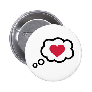Speech bubble red heart 2 inch round button