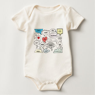 Speech bubbles with shorts messages baby bodysuit