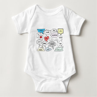 Speech bubbles with shorts messages t-shirt