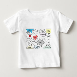 Speech bubbles with shorts messages tee shirts
