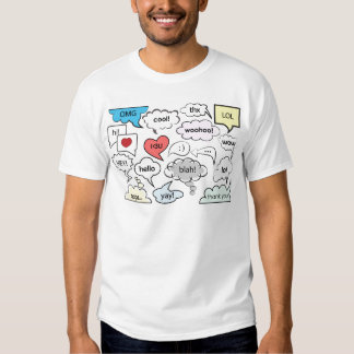Speech bubbles with shorts messages tshirts