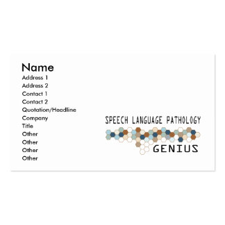 Speech Language Pathology Genius Pack Of Standard Business Cards