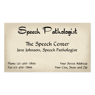 Speech Pathologist Therapist Business Card