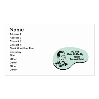 Speech Therapist Voice Pack Of Standard Business Cards
