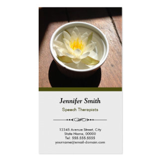 Speech Therapists - Elegant Water Lily Appointment Pack Of Standard Business Cards