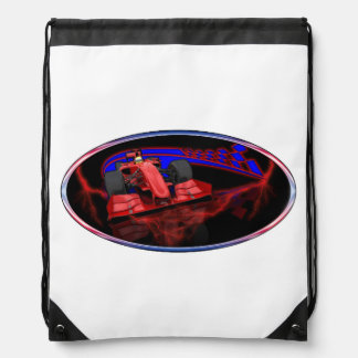 Speed and Checkered flags Drawstring Bag