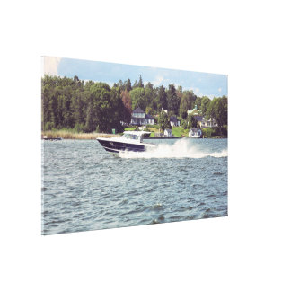 Speed boat in Stockholm Canvas Print