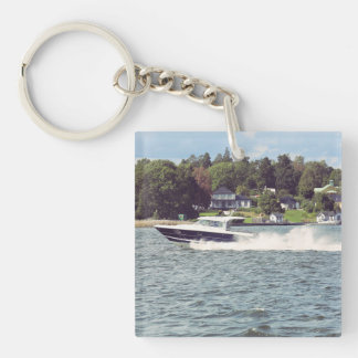Speed boat in Stockholm Keychain