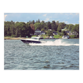 Speed boat in Stockholm Postcard