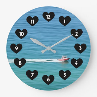 Speed Boat With Heart Wall Clock