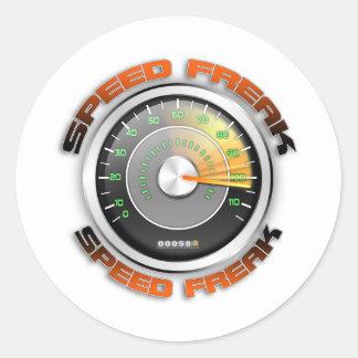 Speed Freak Odometer Classic Round Sticker