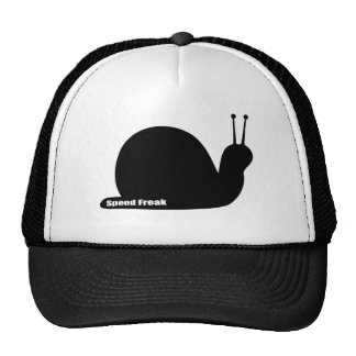 speed freak snail black trucker hat