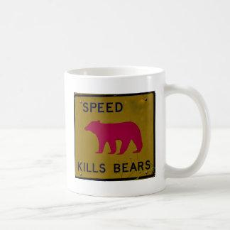 speed kills bear coffee mug