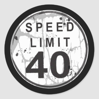Speed Limit 40 MPH Grungy Sticker