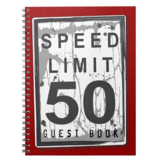 Speed Limit 50 MPH Grungy Guest Book Notebook