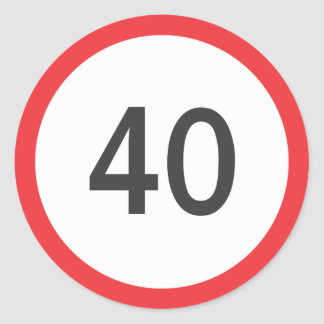 Speed limit forty classic round sticker