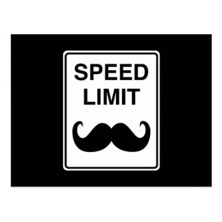Speed Limit Mustachio Sign Postcard