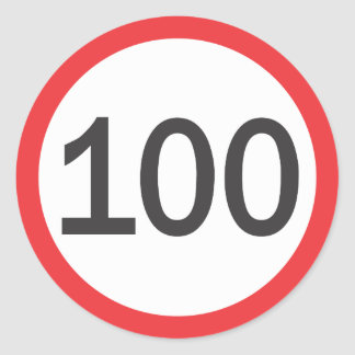 Speed limit one hundred classic round sticker