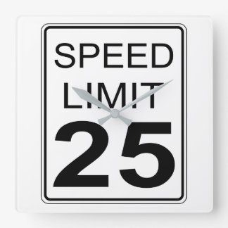 Speed Limit Square Wall Clock