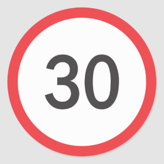 Speed limit thirty classic round sticker