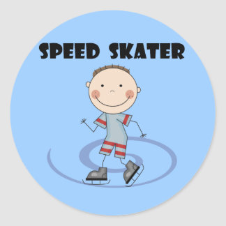 Speed Skater - Boy Tshirts and Gifts Classic Round Sticker