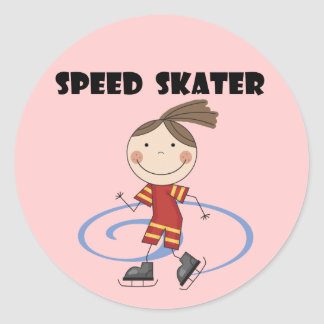 Speed Skater Female Tshirts and Gifts Round Sticker