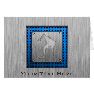 Speed Skater; Metal-look Greeting Card