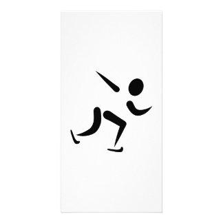 Speed skating logo photo greeting card