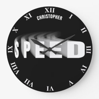 Speed Text With Motion Trail Car Bike Bicycle Cool Large Clock