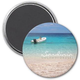 Speedboat in the blue sea round text magnet