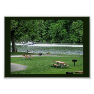 Speedboat on the River Poster