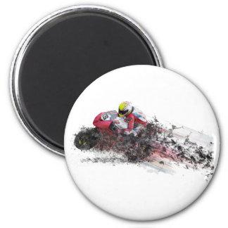 Speeding Motorcycle Racer Magnet