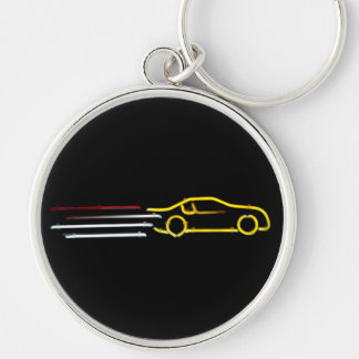 Speeding Race Car Neon Sign Silver-Colored Round Keychain