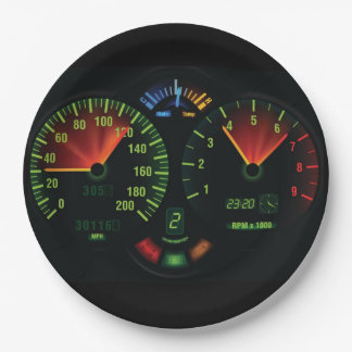 Speedometer Odometer Design Paper Party Plate