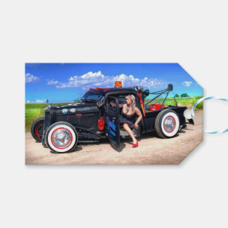 Speeds Towing Rat Rod Truck Pin Up Girl Gift Tags