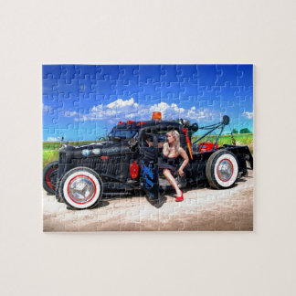 Speeds Towing Rat Rod Truck Pin Up Girl Jigsaw Puzzle