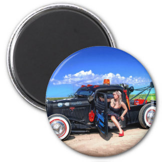 Speeds Towing Rat Rod Truck Pin Up Girl Magnet