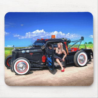 Speeds Towing Rat Rod Truck Pin Up Girl Mouse Pad