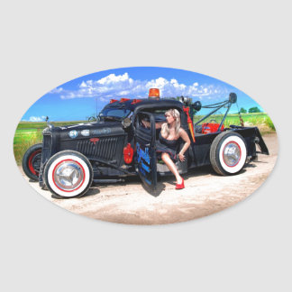 Speeds Towing Rat Rod Truck Pin Up Girl Oval Sticker