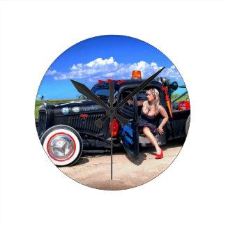 Speeds Towing Rat Rod Truck Pin Up Girl Round Clock