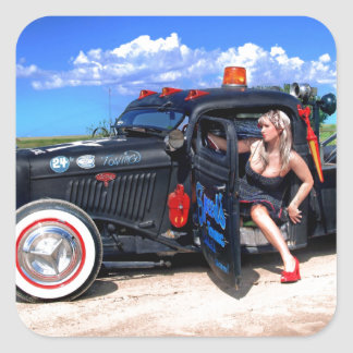Speeds Towing Rat Rod Truck Pin Up Girl Square Sticker
