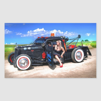 Speeds Towing Rat Rod Truck Pin Up Girl Sticker