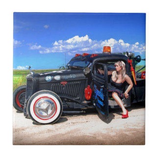 Speeds Towing Rat Rod Truck Pin Up Girl Tile