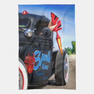 Speeds Towing Rat Rod Truck Rockabilly Betty Pinup Kitchen Towel