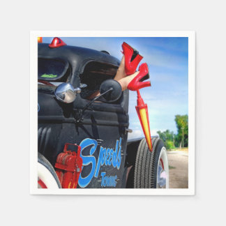 Speeds Towing Rat Rod Truck Rockabilly Betty Pinup Paper Napkins