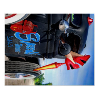 Speeds Towing Rat Rod Truck Rockabilly Betty Pinup Poster