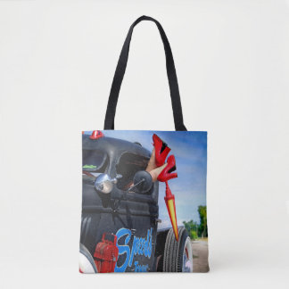 Speeds Towing Rat Rod Truck Rockabilly Betty Pinup Tote Bag