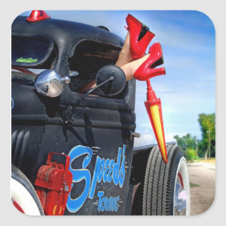 Speeds Towing Rat Rod Truck Rockabilly Betty Square Sticker